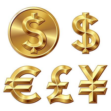 Pièce d'or avec le signe dollar. Eps8. CMJN. Organisé par couches. Couleurs globales. Dégradés utilisés. Banque d'images - 32851130