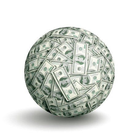 greenbacks: Vector sphere made of one hundred dollar bills. Eps10. CMYK. Global colors. Gradients used.