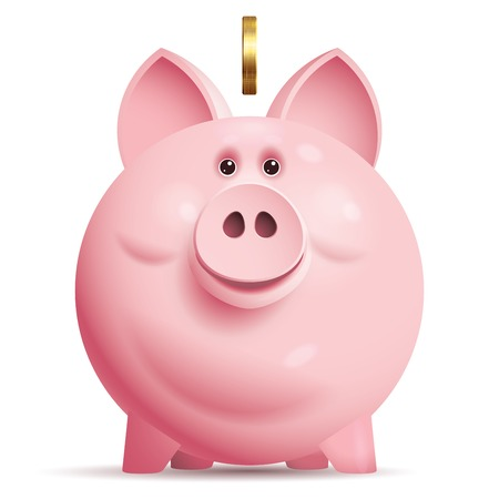 Pink piggy bank with coin. Eps10. Transparency used. CMYK. Organized by layers. Global colors. Gradients used. Vector