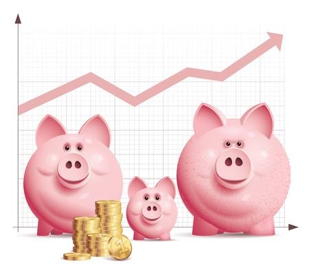 Drei Vektor Sparschwein mit einem Haufen von Münzen und Diagramm. Eps10. Gebrauchte Transparenz-Effekte. CMYK. Organisiert von Schichten. Globale Farben. Farbverläufe verwendet.