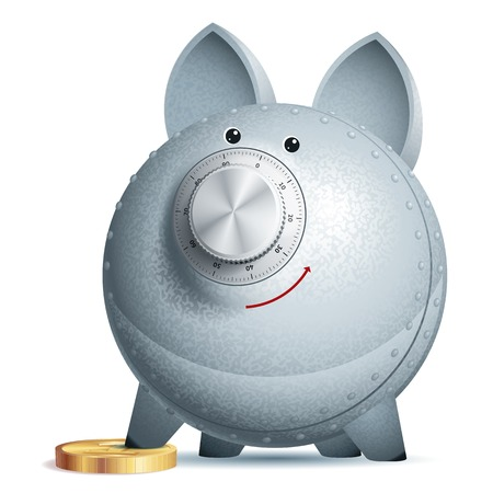 Piggy bank with lock. Eps10. Transparency used. CMYK. Organized by layers. Global colors. Gradients used. Vector