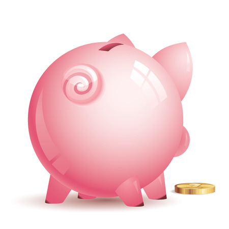 Pink piggy bank with gold coin. Eps8. CMYK. Organized by layers. Global colors. Gradients used. Vector
