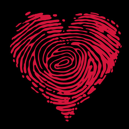 concept images: Red heart shape of fingerprints isolated on black. Eps8. CMYK. Global colors. Organized by layers. Gradients free.