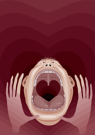 open mouth: Crying man with wide open mouth and throat like a heart shape. Eps8. CMYK. Organized by layers. Global colors. Gradients free. Blend used. Illustration