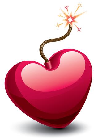 bombing: Bom in de vorm van een hart. Eps8. CMYK. Georganiseerd door lagen. Global kleuren. Gradiënten.