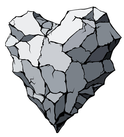heart of stone: Stone heart shape. Eps8. CMYK. Organized by layers. Global color. Gradients free.