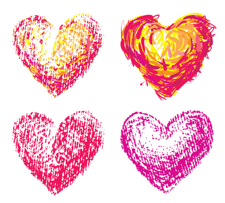 Set of four chalk heart shapes. Eps8. CMYK. Global colors. Gradients free. Vector
