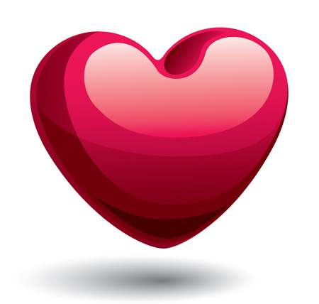 solid color: Red shiny heart. Eps8. CMYK. Global colors. Gradients used Illustration