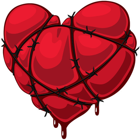 barbed wire: Heart with barbed wire. Eps8. CMYK. Gradients free. Illustration