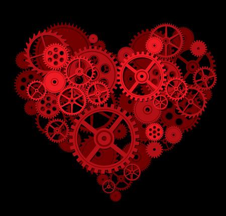 part of me: Forma de coraz�n consisten en engranajes. Eps8. CMYK. Mundial de colores. Degradados libres. Vectores