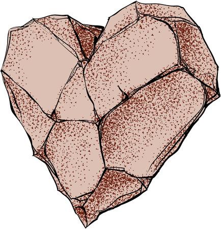 Stone heart shape. Eps8. CMYK. Global colors. Gradients free Vector