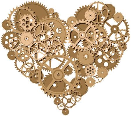 part of me: Forma de corazón consisten en engranajes. Eps8. CMYK. Mundial de colores. Degradados libres. Vectores