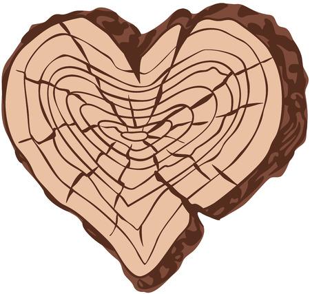part of me: Madera en forma de coraz�n. Eps8. CMYK. Organizado por capas. F�cil modificado. Degradados gratuitas.