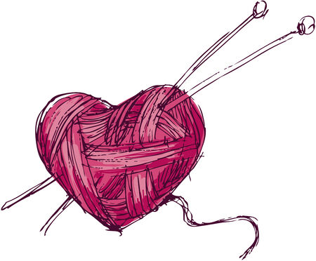 skein: Hand drawing heart of yarn. Eps8. CMYK. Gradients free.