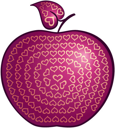Ornate red apple. Eps8. CMYK. Organized by layers. Gradients used. Vector