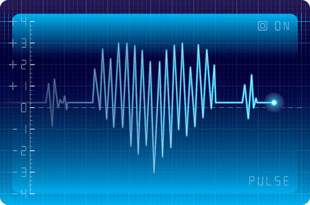taking pulse: Electrocardiogram with heart shape. Eps8. CMYK. Organized by layers. Easy recolor. Two global colors. Gradients used.