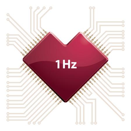 part of me: Chip de ordenador en forma de coraz�n. Eps8. CMYK. Organizado por capas. Mundial de colores. Los degradados utilizados.
