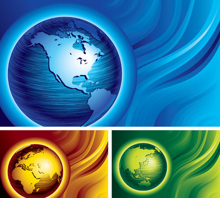 physical geography: Three banners with brushed metal globes on abstract backgrounds. Eps8. CMYK. Organized by layers. Global colors. Gradients used. Illustration