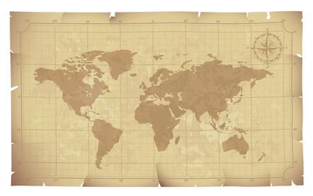Wereldkaart op oud papier. Eps8. CMYK. Georganiseerd door lagen. Global kleuren. Gradiënten.