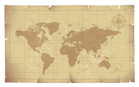 World map on old paper. Eps8. CMYK. Organized by layers. Global colors. Gradients used. Vector