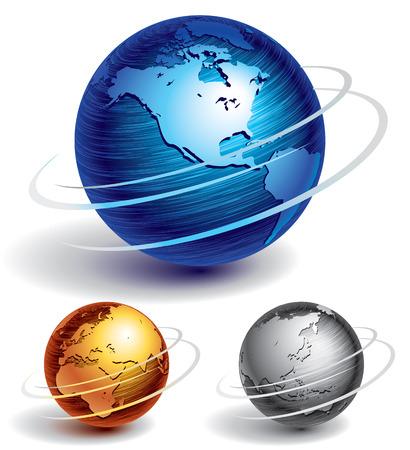 planete terre: Trois globes de métal brossé. Eps8. CMJN. Organisé par couches. Couleurs globales. Dégradés utilisés.