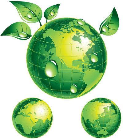 Green globe with green leaves. Eps8. CMYK. Organized by layers. Global colors. Gradients used. 일러스트
