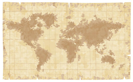 World map on old paper. Eps8. CMYK. Organized by layers. Two global colors. Gradients free.