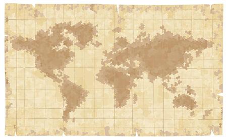 Wereldkaart op oud papier. Eps8. CMYK. Georganiseerd door lagen. Twee globale kleuren. Verlopen gratis.