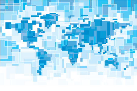 Blue pixelated world map. Eps8. CMYK. Organized by layers. Two global colors. Gradients free. Illustration