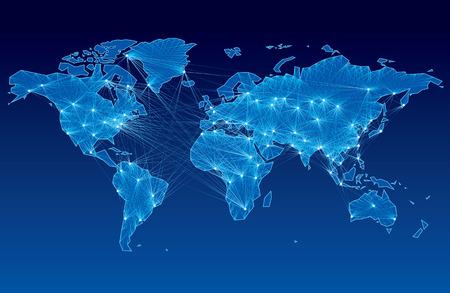 wereldbol: Wereldkaart met knooppunten met elkaar verbonden door lijnen. Eps8. CMYK. Georganiseerd door lagen. Global kleuren. Gradiënten. Stock Illustratie