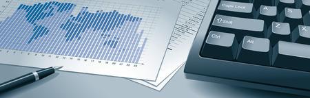staaf diagram: Close-up toetsenbord van de computer, print met spreadsheet, pen en een bar grafiek met kaart van de wereld. Eps8. CMYK. Georganiseerd door lagen. Global kleuren. Gradiënten.
