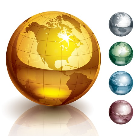 Five metallic globes. Eps10. Transparency used. CMYK. Global colors. Organized by layers. Gradients used.