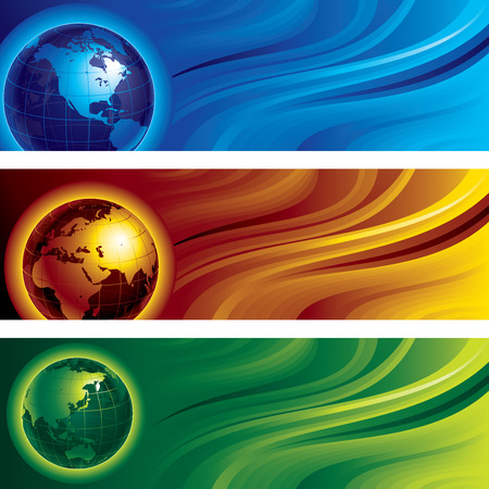 cmyk abstract: Three horizontal banners with globes on abstract backgrounds. Eps8. CMYK. Organized by layers. Global colors. Gradient used. Illustration