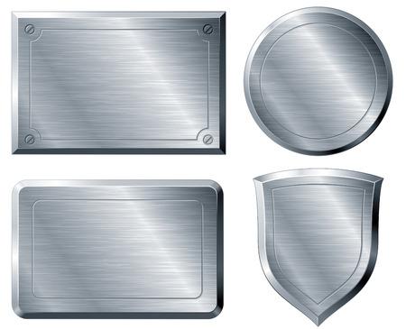 Vier gebürstete Metallformen. Eps8. CMYK. Nach Schichten organisiert. Globale Farbe Verwendete Farbverläufe