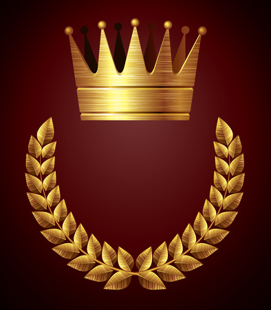 Gold crown with laurel wreath. Eps8. CMYK. Organized by layers. Global colors. Gradients used.