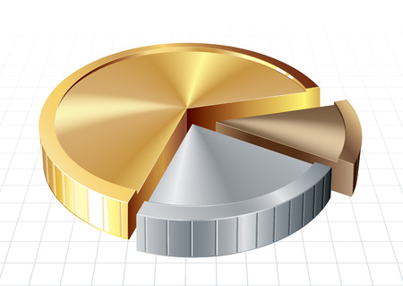 quantities: Pie chart consist of coin parts. Eps8. CMYK. Organized by layers. Global colors. Gradients used. Illustration