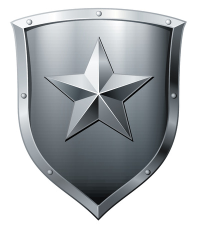 3d shield: Silver shield isolated on white. Eps8. CMYK. Organized by layers. Global colors. Gradients used.