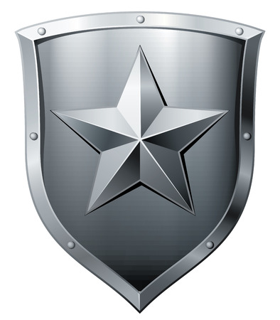 Silver metal shield with star isolated on white. Eps8. CMYK. Organized by layers. Global colors. Gradients used. Vector
