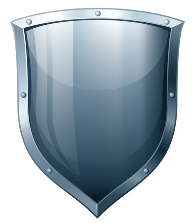 Silver shield isolated on white. Eps8. CMYK. Organized by layers. Global colors. Gradients used. Vector