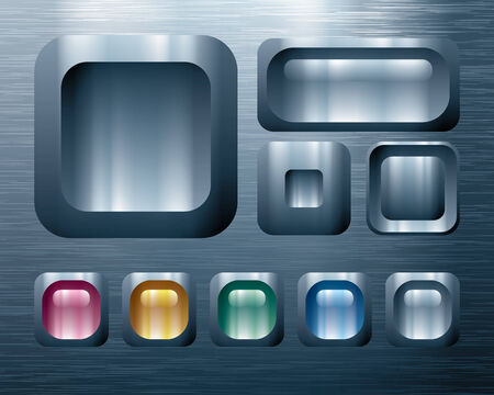 metal sheet: Set of metal buttons. Eps8. CMYK. Global colors. Organized by layers. Gradients used. Illustration