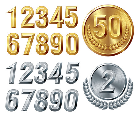 cmyk: Set of gold and silver digits. Eps8. CMYK. Global colors. Gradients used.