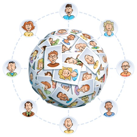 Sphere made of portraits of smiling multi-ethnic young people. Eps10. Transparency used. CMYK. Global colors. Gradients used. Vector