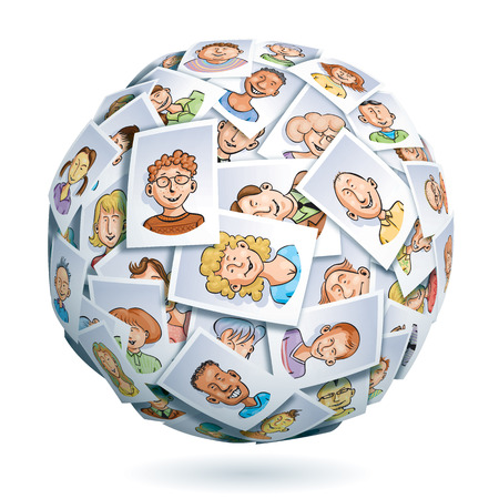 medium group of people: Sphere made of portraits of smiling multi-ethnic young people. Eps10. Transparency used. CMYK. Global colors. Gradients used.