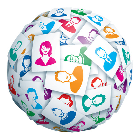 computer network: Sphere made of portraits of young people. Eps10. Transparency used. CMYK. Global colors. Gradients used. Illustration