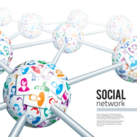 Social network concept. Eps10. Transparency used. CMYK. Global colors. Gradients used