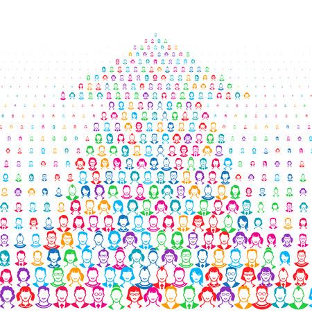 crowdsource: Human faces. Eps8. RGB. Global colors. Gradients free