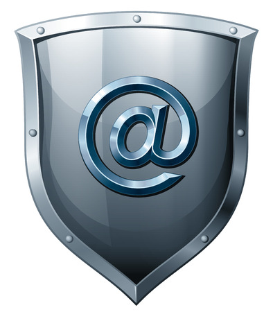 security staff: Silver shield with E-mail sign isolated on white. Eps8. CMYK. Organized by layers. Global colors. Gradients used.