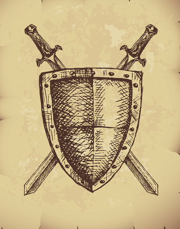 Hand drawn swords and shield on old paper. Stock Illustratie