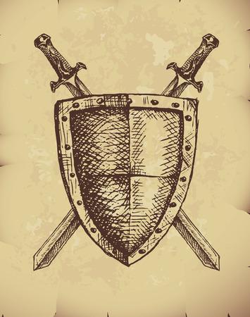 Hand getrokken zwaarden en schild op oud papier.