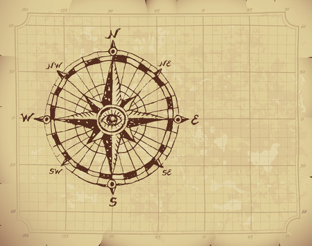 wrinkled paper: Hand drawn compass rose on old paper. Illustration